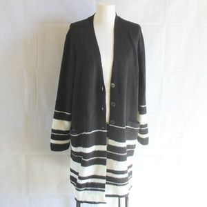 Style & Co Plus 0X 2X Black White Open Cardigan